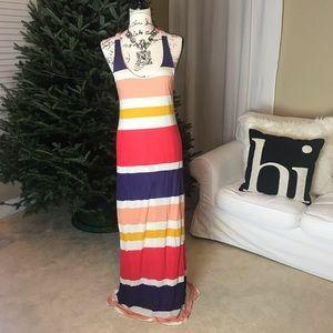 Splendid Block Stripe Maxi Tank Dress